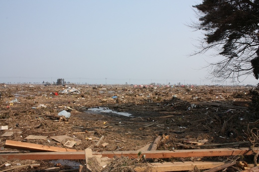 瓦礫と化した被災地